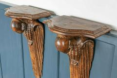 Pair of French 1920s Hand Carved Parrot Wall Shelves - 1969623