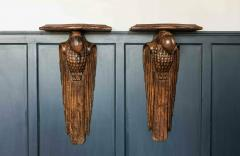 Pair of French 1920s Hand Carved Parrot Wall Shelves - 1969627