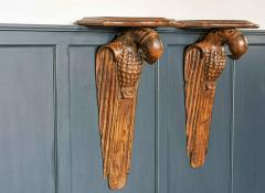 Pair of French 1920s Hand Carved Parrot Wall Shelves - 1969628