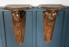 Pair of French 1920s Hand Carved Parrot Wall Shelves - 1969629
