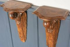 Pair of French 1920s Hand Carved Parrot Wall Shelves - 1969630
