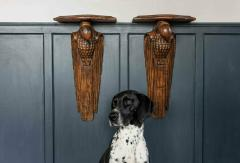 Pair of French 1920s Hand Carved Parrot Wall Shelves - 1969633