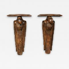 Pair of French 1920s Hand Carved Parrot Wall Shelves - 1972792