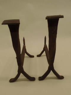 Pair of French 1930s Wrought Iron Andirons - 1876780