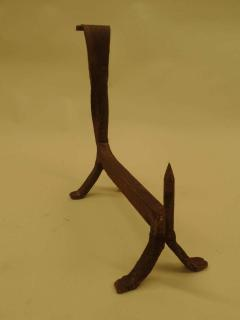 Pair of French 1930s Wrought Iron Andirons - 1876782