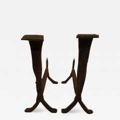 Pair of French 1930s Wrought Iron Andirons - 1879894