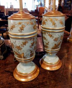 Pair of French 1940s Pale Blue Opaline Glass Lamps with Gilt Decoration - 1980431