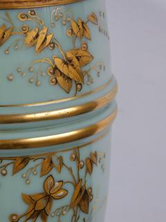 Pair of French 1940s Pale Blue Opaline Glass Lamps with Gilt Decoration - 1980432