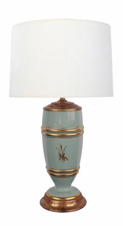 Pair of French 1940s Pale Blue Opaline Glass Lamps with Gilt Decoration - 1980433