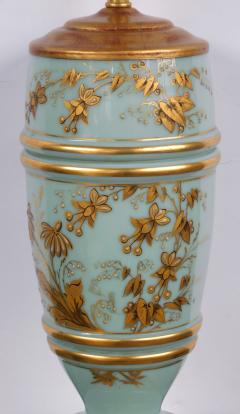 Pair of French 1940s Pale Blue Opaline Glass Lamps with Gilt Decoration - 1980434