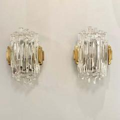 Pair of French 1970s Ice Crystal Wall Lights - 1649733