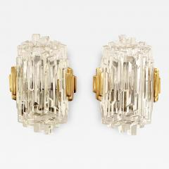 Pair of French 1970s Ice Crystal Wall Lights - 1650942