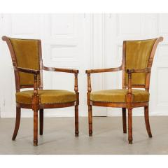 Pair of French 19th Century Directoire Style Upholstered Fauteuils - 1794794