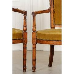 Pair of French 19th Century Directoire Style Upholstered Fauteuils - 1794796