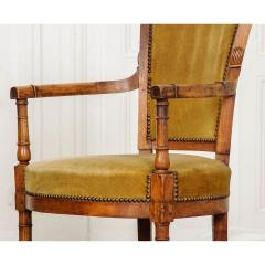 Pair of French 19th Century Directoire Style Upholstered Fauteuils - 1794798
