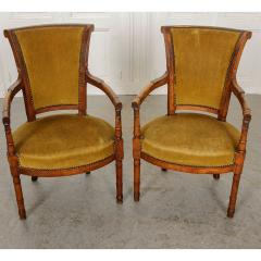 Pair of French 19th Century Directoire Style Upholstered Fauteuils - 1794805