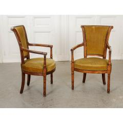 Pair of French 19th Century Directoire Style Upholstered Fauteuils - 1794815
