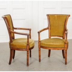 Pair of French 19th Century Directoire Style Upholstered Fauteuils - 1794818