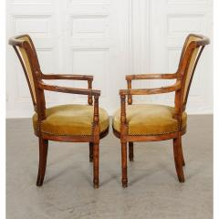Pair of French 19th Century Directoire Style Upholstered Fauteuils - 1794819