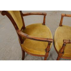 Pair of French 19th Century Directoire Style Upholstered Fauteuils - 1794821