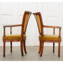 Pair of French 19th Century Directoire Style Upholstered Fauteuils - 1794825