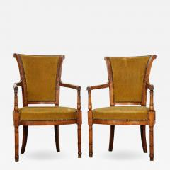 Pair of French 19th Century Directoire Style Upholstered Fauteuils - 1815931