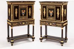 Pair of French 19th Century Ebony Hard Stone and Ormolu Mounted Secretaires - 672508