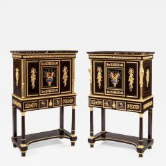 Pair of French 19th Century Ebony Hard Stone and Ormolu Mounted Secretaires - 673944