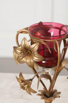 Pair of French 19th Century Gilt Brass and Rose Glass Vases - 1062389