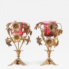 Pair of French 19th Century Gilt Brass and Rose Glass Vases - 1063117