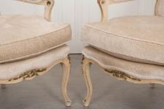 Pair of French 19th Century Louis XV Style Cr me Peinte Fauteuils  - 1817303