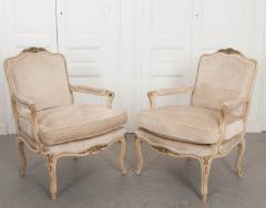 Pair of French 19th Century Louis XV Style Cr me Peinte Fauteuils  - 1817304