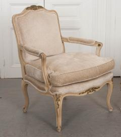 Pair of French 19th Century Louis XV Style Cr me Peinte Fauteuils  - 1817308
