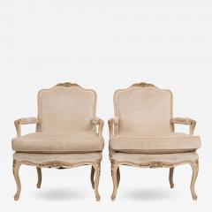 Pair of French 19th Century Louis XV Style Cr me Peinte Fauteuils  - 1827150
