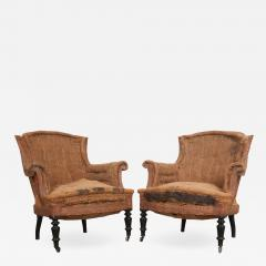 Pair of French 19th Century Structured Armchairs - 1395409