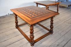Pair of French Alsace 18th Century TrompeLOeil Veneered Rectangular Tables - 1073338
