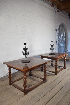 Pair of French Alsace 18th Century TrompeLOeil Veneered Rectangular Tables - 1073343