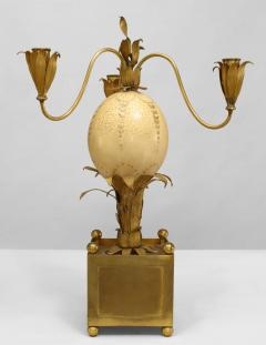 Pair of French Brass Palm Design and Ostrich Egg 3 Arm Candelabra - 477692