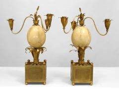Pair of French Brass Palm Design and Ostrich Egg 3 Arm Candelabra - 477694