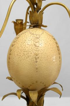 Pair of French Brass Palm Design and Ostrich Egg 3 Arm Candelabra - 477696