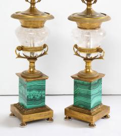 Pair of French Bronze Rock Crystal and Malachite Lamps - 1378688