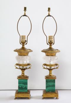 Pair of French Bronze Rock Crystal and Malachite Lamps - 1378689