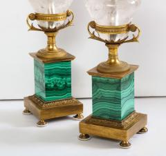 Pair of French Bronze Rock Crystal and Malachite Lamps - 1378695