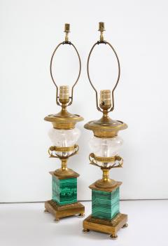 Pair of French Bronze Rock Crystal and Malachite Lamps - 1378696