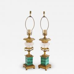 Pair of French Bronze Rock Crystal and Malachite Lamps - 1382058