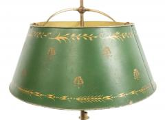 Pair of French Empire Style Bronze Table Lamps with Green Tole Shade - 1381420