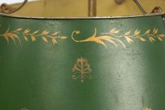 Pair of French Empire Style Bronze Table Lamps with Green Tole Shade - 1381421