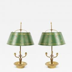 Pair of French Empire Style Bronze Table Lamps with Green Tole Shade - 1394879