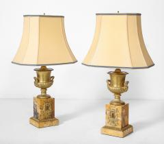 Pair of French Empire Style Bronze Urn Lamps - 1927550