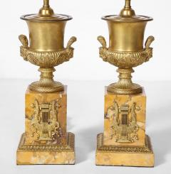 Pair of French Empire Style Bronze Urn Lamps - 1927551